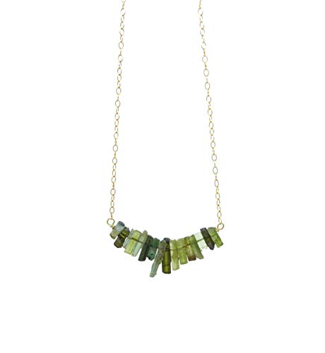 Green Tourmaline Necklace 16 inch 14Kt Gold Filled Chain