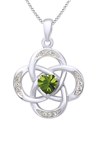 AFFY Celtic Knot Simulated Peridot Pendant Necklace in 14k White Gold Over Sterling Silver W/Chain 18