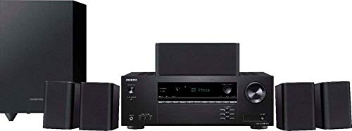 Onkyo HT-S3910 Home Audio Theater Receiver and Speaker Package, Front/Center Speaker, 4 Surround Speakers, Subwoofer and Receiver, 4K Ultra HD (2019 Model) (Renewed)