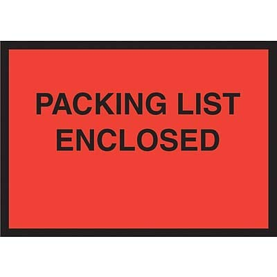 Packing List Envelopes, 4-1/2 x 6, Red Full Face Packing List Enclosed - 1000/Carton (1 Carton)