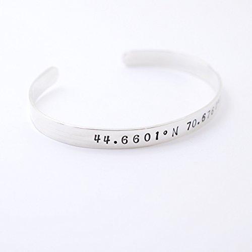 - Custom Coordinates Sterling Silver Cuff Bracelet - Personalized Latitude & Longitude - Gift Idea