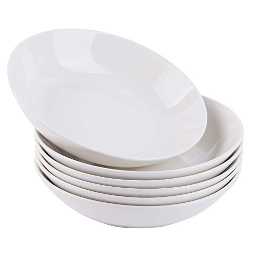 - Cutiset 8 Inch Porcelain Salad/Pasta/Soup Bowls, Set of 6,White, Shallow & Wide (8-inch, Round)