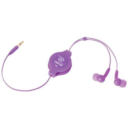 Retrak Retractable Stereo Earbuds, Purple (EMTAUDIOPRP)