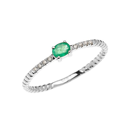 10k White Gold Diamond and Oval Solitaire Emerald Dainty Promise Ring