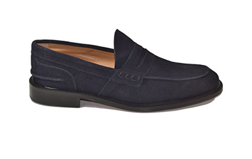 Saxone Of Scotland Loafer Camoscio Blu Fondo Cuoio