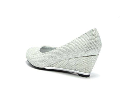 Sassy Sexy ELLE-2 New Women's Faux Suede/Glitter Upper Low Wedge Heels Pumps Shoes, ELLE-2-SILVER, 7 B(M) US