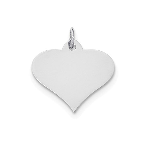 - 14k White Gold .018 Gauge Engraveable Heart Disc Pendant Charm Necklace Engravable Shapely Love Fine Jewelry For Women Gift Set