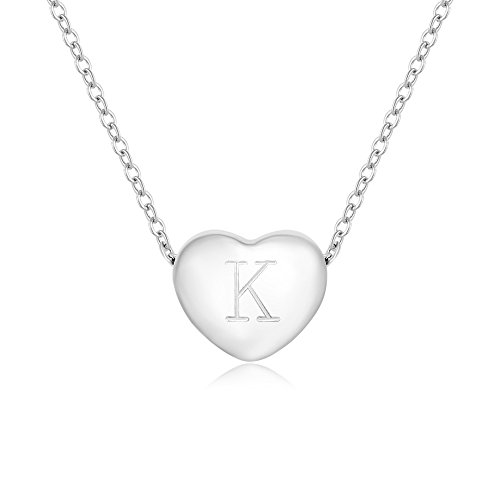 MANZHEN Stainless Steel Heart Necklace Personalized Initial Necklace Best Gift to Girl - Initial Tiffany Pendant Style