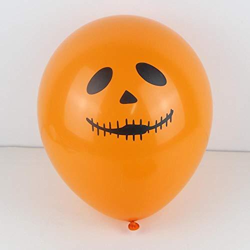 Lannmart 15pcs Halloween Party Balloon Decoration Fun Orange Black Printed Ghost Jack-o-Lantern Latex Balloons Trick Treat -