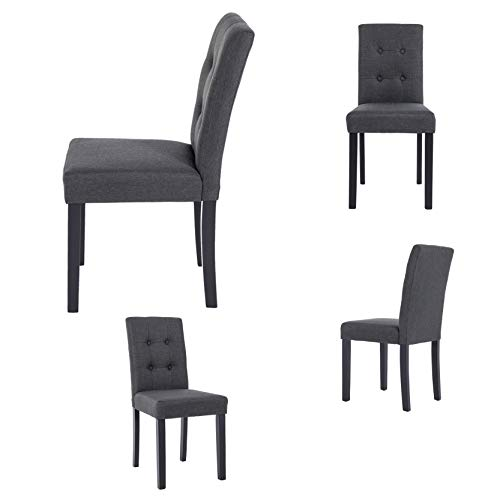 GOTMINSI Parsons Dining Chairs with Solid Natural Wood Legs Button-Tufted Chairs Set of 4(Charcoal)