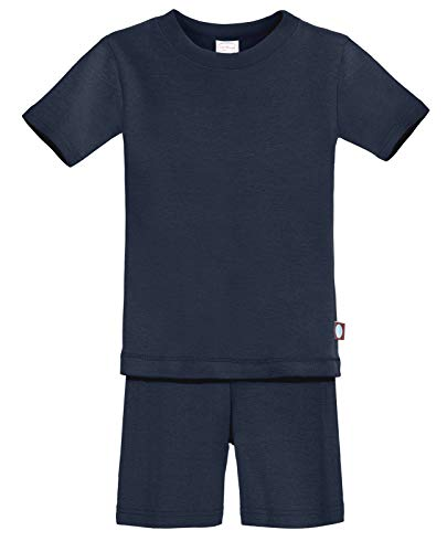 City Threads Certified Organic Thermal Short Sleeve and Short Snug Pajama Set, Baby Boys and Girls for Sensitive Skin, Navy, 5 ()