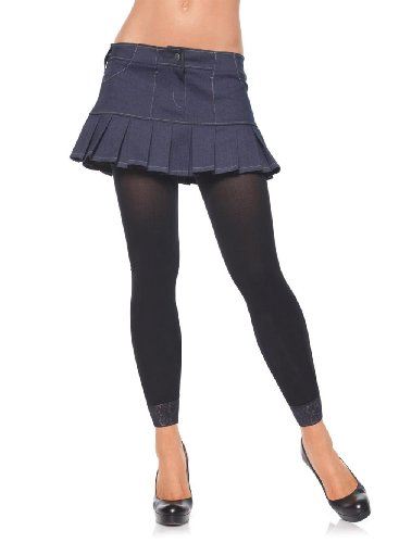 Ladies Black Opaque Footless Cropped Tights with Lace Trim 80s Fancy Dress Party Pantyhose Hosiery ()