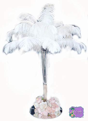(Ostrich Feathers 100 Pcs. White Tail Ostrich Feather Plumes 14 to 18 inches Long. U.S.A. Store. Create Stunning Feather Centerpieces)