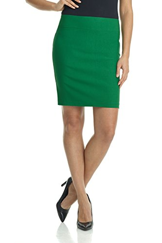 (Rekucci Women's Ease Into Comfort Above The Knee Stretch Pencil Skirt 19 inch (XX-Large,Jungle Green))