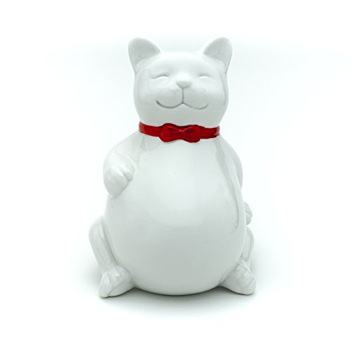Cute Happy Cat Piggy Bank, Kitty Cat Coin Bank, Ceramic Toy Coin Bank, Decorative Saving Bank, Money Bank, Adorable Cat Figurine for Boy, Girl, Baby, Kid, Child, Adult Cat Lover (Sitting, White)