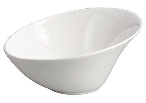 (Winco WDP003-202, 8-1/4-Inch Dia 1 Quart White Porcelain Angled Mini Bowls, Ardesia Priscila Serving Dessert Cups, Salad Bowl Set, Ice Cream Dishes, Porcelain Dipping Cups, 12-Piece Set)