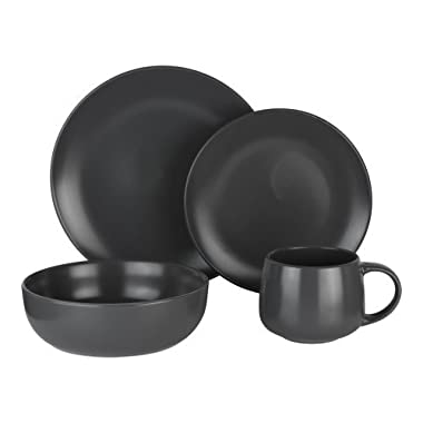 Mainstays 16-Piece Dinnerware Set, Charcoal Gray | 13 x 12 x 12 Inches