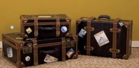 IMAX Voyager Faux-Leather Labeled Suitcases (Set of 3)