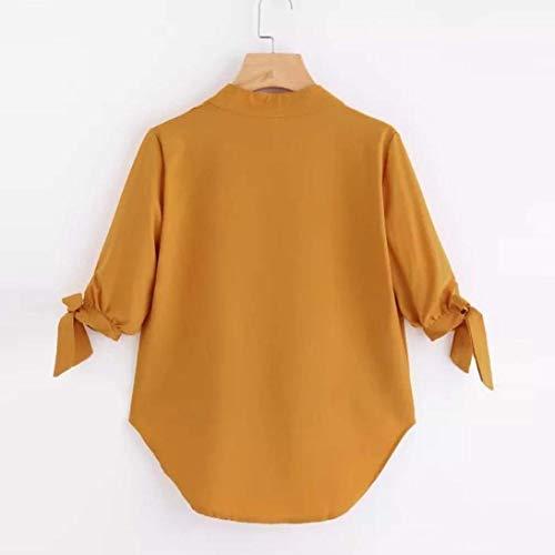 Jaune Manches 10 En Jaune V T Col Blouse shirt Longues Taille couleur Zhrui Et Muk À Cn YTxPfZRqT