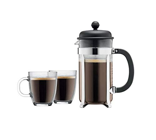 Bodum Caffettiera French Press Coffee Maker, 8 Cup, 1 Liter, 34oz with 2 Glass Mugs, 0.35 Liter, 12oz