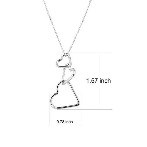 RareLove Fashion Interlocking Three Hearts Pendant Necklace for Women Girls Alloy Silver