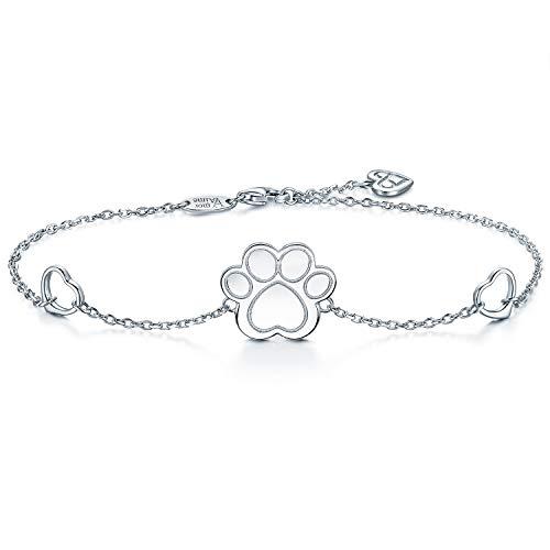 - AmorAime 925 Sterling Silver Bracelet Dog Cat Paw Print of Love Heart Charm Adjustable Link Bracelets for Women Great Gift for Pet Lover (Dog paw)