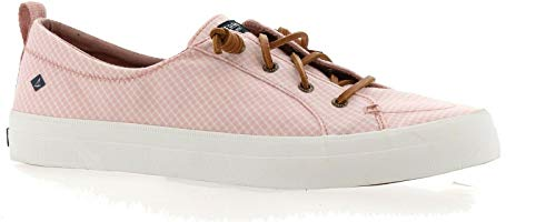 Sperry Women's Crest Vibe Mini Check Sneaker, Coral/White, 5.5 M US
