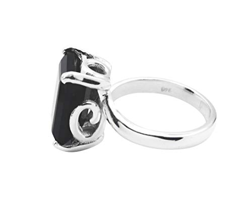 Gemstones 925 Solid Sterling Silver fair Genuine Black Ring, Black Onyx Black Stone Silver Ring -