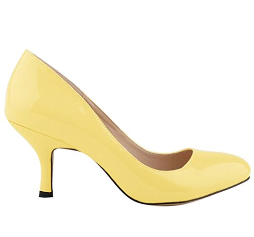 WanYang Bureau Talons Jaune Mouth Heel Toe Stiletto Femme Pumps Pointed Shallow Work Femmes B4ZzBxwr