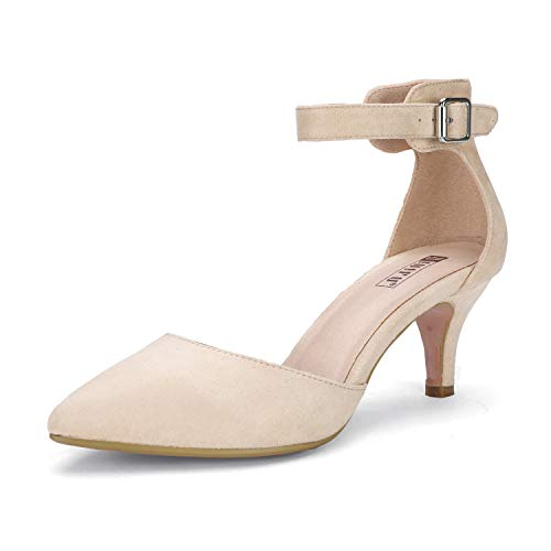 IDIFU Women's IN3 D'Orsay Pointed Toe Ankle Strap Mid Heel Pump (Nude Suede, 7.5 B(M) US)]()