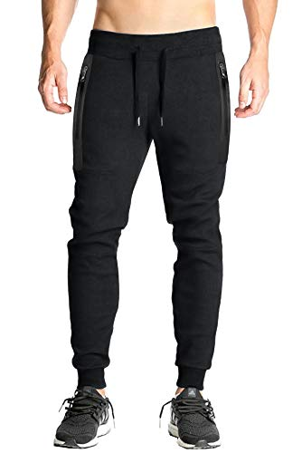Men's Joggers Slim Fit Cotton Pants Breathable Casual Trousers with Zipper Pockets Black ()