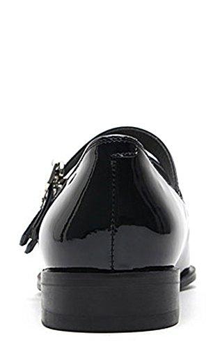 Karen Witte Dames Zwart Lakleer Gesp Gedetailleerde Puntschoen Platte Schoenen Zwart