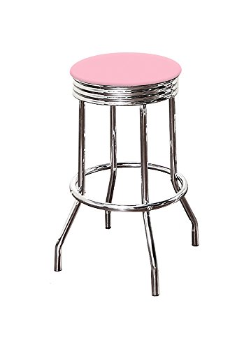 "The Furniture Cove 1-24"" Tall Chrome Finish Retro/Soda Fountain Style Swivel Seat Bar Stool Featuring Your Favorite Colored Vinyl Seat Cushion (Baby Pink)"