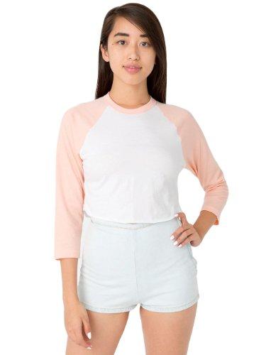 American Apparel Womens Poly-Cotton Cropped 3/4 Sleeve Raglan