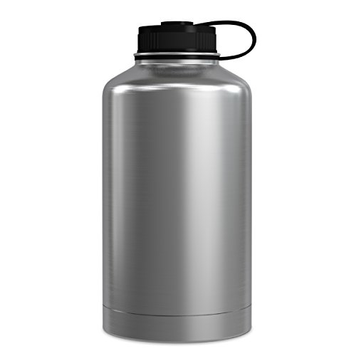 (GEO 64oz Double Wall Vacuum Insulated Stainless Steel Leak Proof Sports Water Bottle, Wide Mouth w/BPA Free Screw Cap (Stainless Steel))
