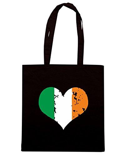 T-Shirtshock - Bolsa para la compra TIR0053 flag of ireland heart tshirt Negro