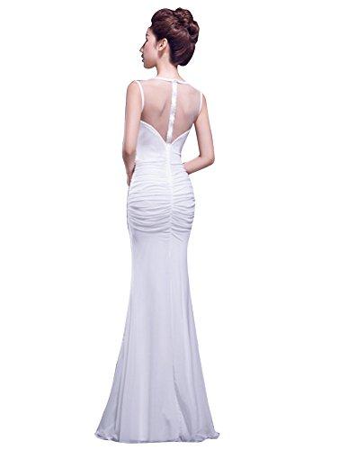 Ruching durch Bodycon Weiß Rhinestone Beauty Kleid Falten sehen Emily pUnwfxXSqT