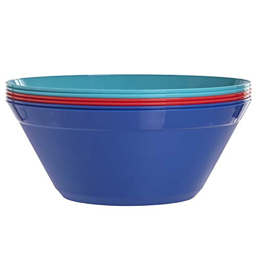 Newport 10-inch Plastic Salad and Snack Bowls | set of 6 in 3 basic colors