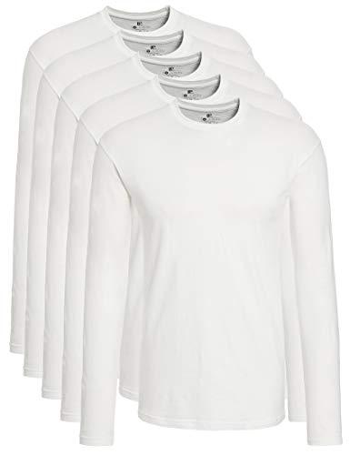 Lower T East Uomo 5 Da Pacco shirt Bianco Maniche Lunghe A rarOq5w