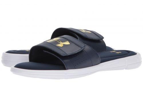 難民印をつける運賃Under Armour(アンダーアーマー) メンズ 男性用 シューズ 靴 サンダル フラット UA Ignite V Slide - Academy/White/Metallic Gold [並行輸入品]