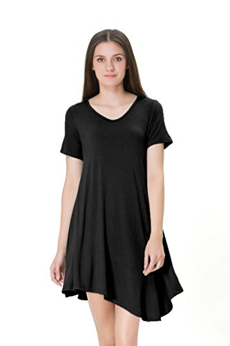 Tandisk Women's Irregular Hem Short Sleeve Casual T Shirt Flowy Shift Dress Black S