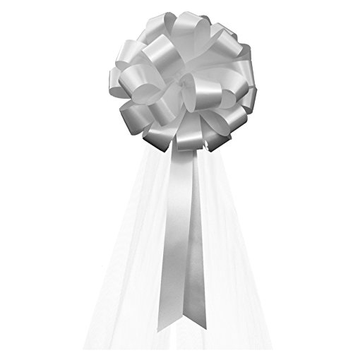 Silver Wedding Pull Bows with Tulle Tails - 8