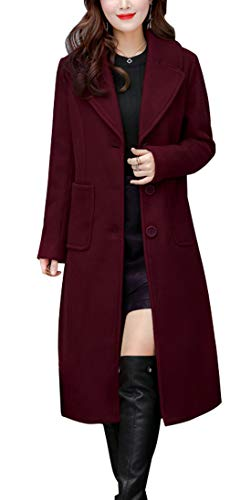 chouyatou Women's Big Notch Lapel Single Breasted Mid-Long Wool Blend Coat (Large, Wine Red)