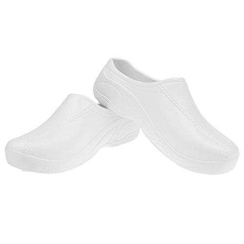 Blanc Unisexe Médical Mules Hopital Sans 1x dérapant Fenteer Anti Sabots Cuisinier Chaussures Bretelles Paire CqZxBUOwS
