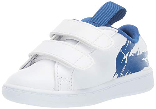Lacoste Baby Carnaby EVO Sneaker, White/Blue, 7. Medium US Toddler (Lacoste Baby Sneakers)