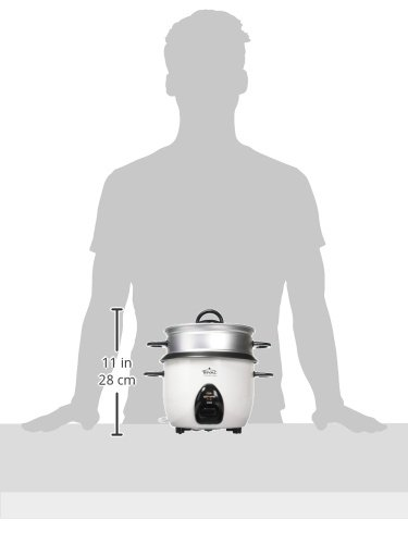 Rival 10-Cup Rice Cooker with Steamer Basket, White/Black (RC101) by Rival (Image #7)