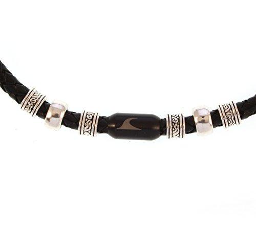 WAVEPIRATE® Echt Leder-Halskette Charm F Schwarz/SW Herren Männer