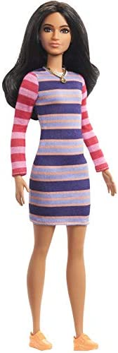 Barbie Fashionistas Doll with Long Brunette Hair Wearing Striped Dress, Orange Shoes & Necklace, Toy for K