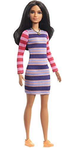 Barbie Fashionistas Doll with Long Brunette Hair Wearing Striped Dress, Orange Shoes & Necklace, Toy for Kids 3 to 8 Years Old