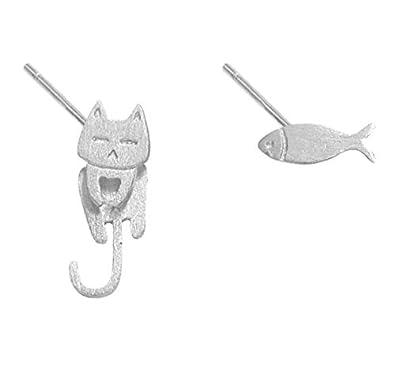 Iszie joyas plata de ley lindo gato y peces pendientes chaquetas, pendientes de gato, pendientes delanteros y traseros: Amazon.es: Joyería